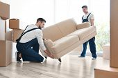 Delivery men moving sofa in room at new home poster