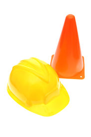 picture of safety barrier  - Hardhat with safety cone isolated on a white background - JPG