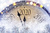 Countdown to midnight. Retro style clock counting last moments before Christmass or New Year 2020. poster