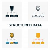 Structured Data Icon Set. Four Elements In Diferent Styles From Big Data Icons Collection. Creative  poster
