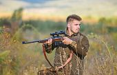 Hunting And Trapping Seasons. Hunting Permit. Man Brutal Gamekeeper Nature Background. Bearded Hunte poster