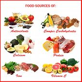 Chart showing food sources of various nutrients, each isolated on white. Includes antioxidants, comp