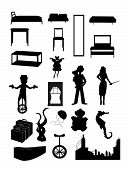 Random Batch Of Silhouettes Woman, Juggler, Fairy, Furniture, City, Unicycle, Baby, Seahorse, Vector