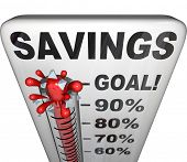 A thermometer measuring your rising level of savings and investment for your future or retirement, g