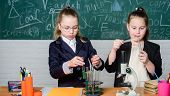 Sharing Thoughts. Little Girls In School Lab. Teamwork. Biology Lab. Successful Teamwork. Science Ex poster
