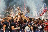VIENNA, AUSTRIA - JULY 16 Team USA celebrates the victory at the Football World Championship on July