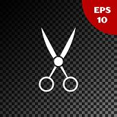 White Scissors Hairdresser Icon Isolated On Transparent Dark Background. Hairdresser, Fashion Salon  poster