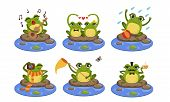 Green Funny Frog Characters Set, Cute Humanized Amphibian Animal In Different Situations Vector Illu poster