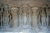 Statues Inside Ancient Hindu Cave Temple