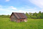 old rural house on green field