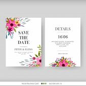 Wedding Invitation, Floral Invite Thank You. Floral Poster, Invite. Vector Decorative Greeting Card  poster