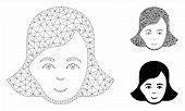 Mesh Lady Face Model With Triangle Mosaic Icon. Wire Frame Polygonal Mesh Of Lady Face. Vector Mosai poster