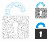 Mesh Open Lock Model With Triangle Mosaic Icon. Wire Carcass Triangular Mesh Of Open Lock. Vector Co poster