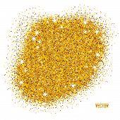 Gold Sparkles On White Background. poster