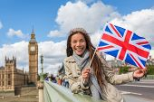 London Big Ben Westminster travel tourist woman showing United Kingdom UK flag. Europe vacation dest poster