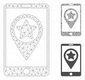 Mesh Smartphone Map Pointer Model With Triangle Mosaic Icon. Wire Carcass Polygonal Mesh Of Smartpho poster
