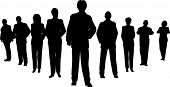 picture of person silhouette  - Business people with leader silhouette on white - JPG