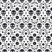 Day Of The Dead Seamless Pattern With Skulls And Flowers On White Background. Traditional Mexican Ha poster