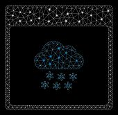 Flare Mesh Snow Cloud Calendar Page With Glitter Effect. Abstract Illuminated Model Of Snow Cloud Ca poster