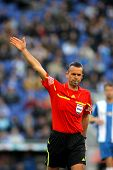 BARCELONA - APRIL, 7: Referee Muniz Fernandez during a Spanish League match between RCD Espanyol vs