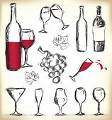 Collection of hand-drawn glasses, bottles of wine and grapes - JPG version of a vector illustration