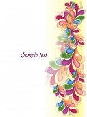 Vector illustration of abstract conceptual swirly background with colorful floral design and sapce f