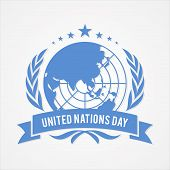 United Nation Day Banner Vector In Flat Style. United Nation Day Text Banner. Vector Illustration Ep poster
