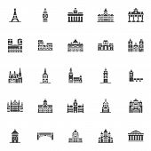 European Cities Landmarks Vector Icons Set, Modern Solid Symbol Collection, Filled Style Pictogram P poster