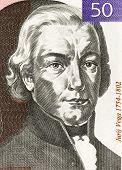SLOVENIA - CIRCA 1992: Jurij Vega (1754-1802) on 50 Tolarjev 1992 Banknote from Slovenia. Slovenian mathematician, physicist and artillery officer.