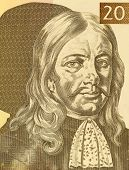 SLOVENIA - CIRCA 1992: Janez Vajkard Valvasor (1641-1693) on 10 Tolarjev 1992 Banknote from Slovenia. Nobleman, scholar, polymath, and fellow of the royal society.