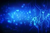 Abstract Futuristic Electronic Circuit Board Illustration, High Computer Technology Dark Blue Color  poster