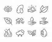 Set Of Nature Icons, Such As Peanut, Leaves, Organic Tested, Water Care, Mint Leaves, Wind Energy, B poster