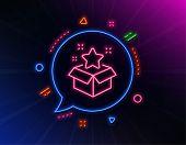 Loyalty Program Line Icon. Neon Laser Lights. Bonus Points. Discount Box Symbol. Glow Laser Speech B poster