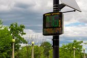 A Bilingual Radar Speed Sign Thanks A Passing Driver For Respecting The Posted Speed Limit In Both E poster