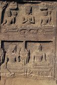 picture of ellora  - Religious carvings around the entrance to a Buddhist cave temple at Ellora Caves in India - JPG