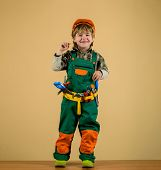 Little Repairman. Tools For Building. Little Boy In Helmet And Tools. Kid As Construction Worker. Li poster