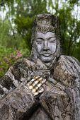 Old Stone Statue Liu Bei Peach Orchard Wuhou Three Kingdoms Temple Chengdu Sichuan China