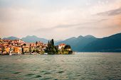 Beautiful Varenna Old Town And Alps At Como Lake (italian Lago Di Como), Italy. Scenic Sunset View O poster