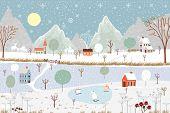 Panoramic Of Winter Landscape,vector Of Horizontal Banner Of Winter Wonderland At Countryside With S poster