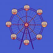 Amusement Park Ferris Wheel Flat Color Vector Icon Isolated. City Park Carousel Funfair Garden Leisu poster