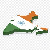 Map India Isometric Concept. 3d Flat Illustration Of Map India. Map Of India With National Flag. poster