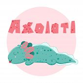 Cute Kawaii Axolotl, Baby Amphibian Drawing. Cute Animal Drawing, Funny Cartoon Illustration. Letter poster