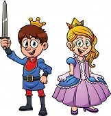 Cute cartoon prince and princess. Vector illustration with simple gradients. Each character in a separate layer.