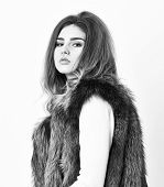 Woman Makeup Face Wear Fur Vest White Background. Luxury Fur Accessory Clothes. Fashion Trend Concep poster