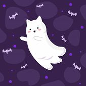 Vector Graphics. Cartoon, Bright, Cute Illustration With A Ghost Cat And Bats. Kawaii Emotion. Hallo poster