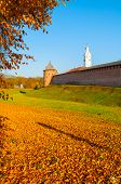 Veliky Novgorod, Russia. Fedor Tower And Clock Tower Of Veliky Novgorod Kremlin At Autumn Sunny Afte poster