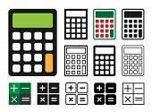Calculator Icon Set. Flat Calculator Symbol, Illustration – Vector poster