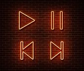 Neon Player Button Signs Vector Isolated On Brick Wall. Play, Pause, Next, Previous Track Light Symb poster