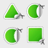 Vector  illustration of scissors cutting white stickers.