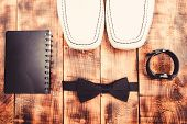 Watch Bow Tie And Notepad. Fashion And Style. Male Outfit Fashion Accessories. Accessories Shop. Sty poster